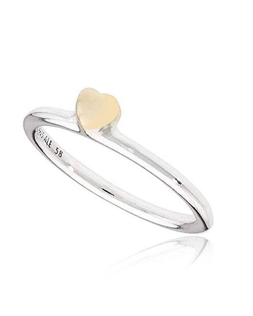 Pandora Metallic Puzzle Heart Silver & Gold Ring 19654858