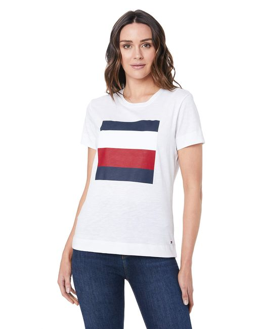 Tommy Hilfiger White Cathy C-nk Tee Ss T-shirt