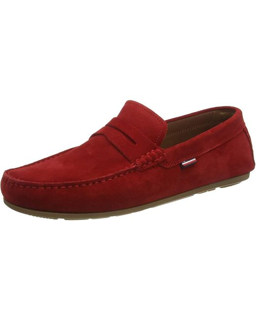Classic Suede Penny Loafer Tommy Hilfiger pour homme en coloris Red