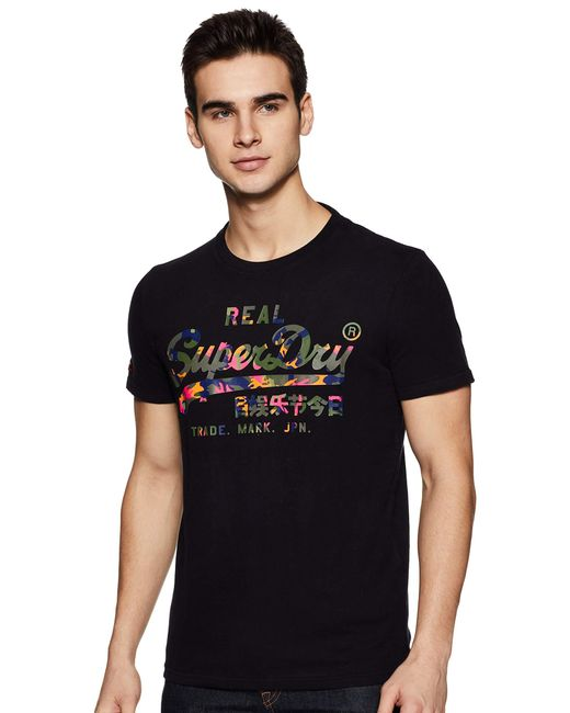 Superdry Black Vintage Logo Layered Camo Tee T-shirt for men