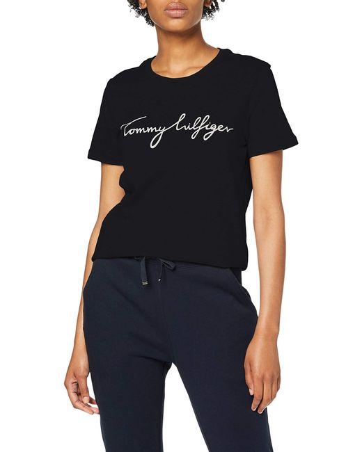 Logo Weiß Tee XS TOMMY HILFIGER Damen T-Shirt NEU Relaxed Fit *