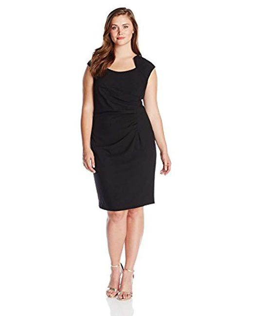 Calvin Klein - Black Plus-size Cap-sleeve Side-rouched Sheath Dress - Lyst