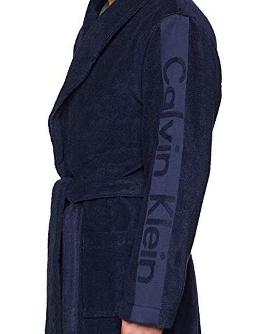 Calvin Klein Robe Long Sleeve Dressing Gown In Blue For Men Lyst