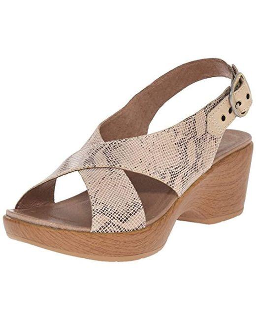 Dansko - Brown Jacinda Taupe Snake Wedge Sandal - Lyst