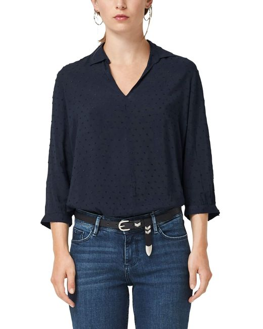 S.oliver Blue Jacquard-Bluse in O-Shape navy 36
