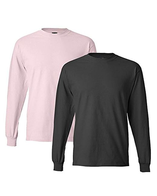 Hanes Pink Long-sleeve Beefy-t Shirt (pack Of 2) for men