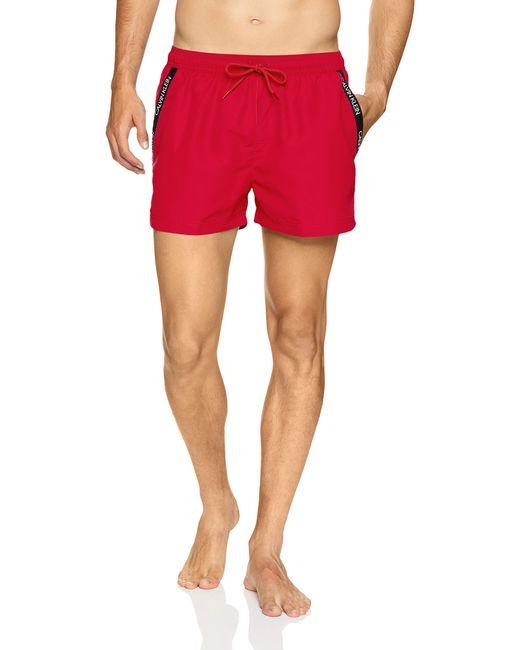 Short de Bain à Cordon Coulissant Calvin Klein pour homme en coloris Red