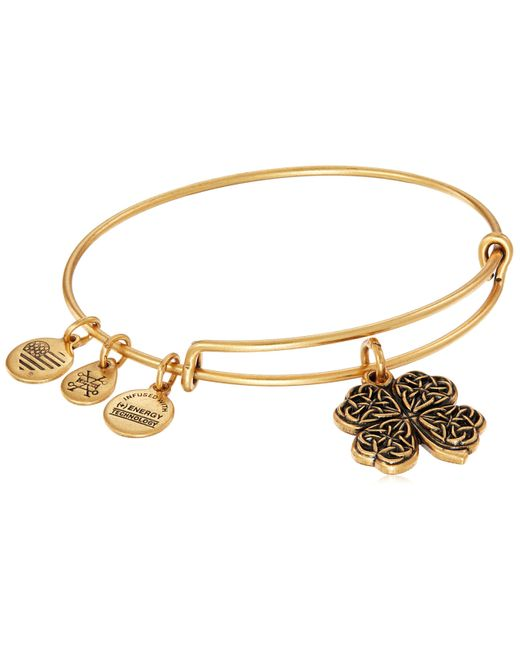 ALEX AND ANI Metallic Four Leaf Clover Iv Rafaelian Gold Bangle Bracelet