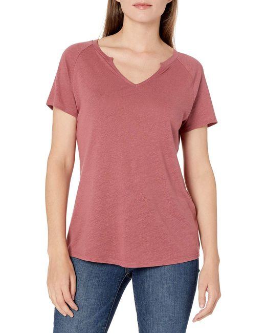 Linen Modal T-Shirt à ches Courtes et col Rond Chemise Goodthreads en coloris Pink