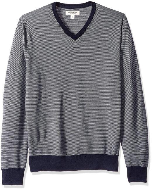 Suéter de lana de merino a rayas con cuello en V para hombre Goodthreads de hombre de color Gray