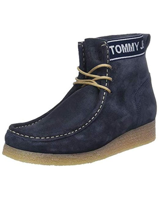 Tommy Hilfiger Blue Wmn Crepe Outsole Suede Wallaby Ankle Boots