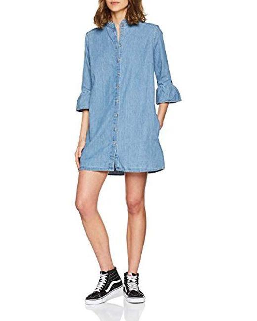 955a535a406531 Tommy Hilfiger - Blue Ruffle Denim 3 4 Sleeve Dress - Lyst ...