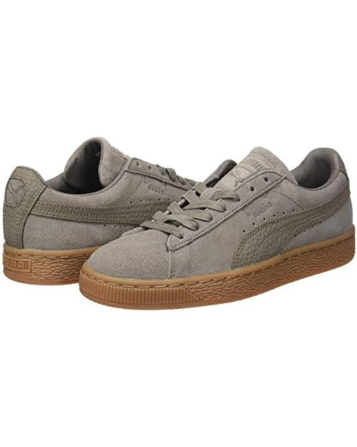 0e9f8976845 ... PUMA - Gray Unisex Adults  Suede Classic Natural Warmth Trainers for Men  ...