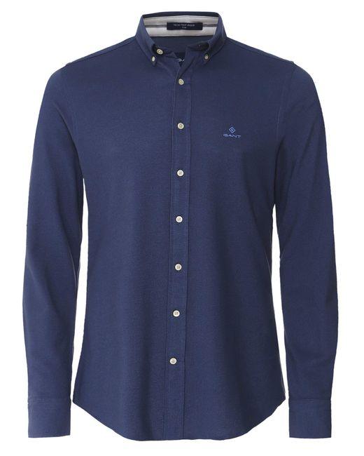 Gant Slim Fit Tech Prep Pique-Hemd L Blau 410 in Blue für Herren