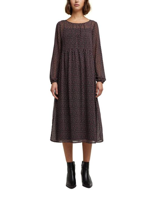 Edc By Esprit Black Recycelt: Midi-Kleid aus Chiffon