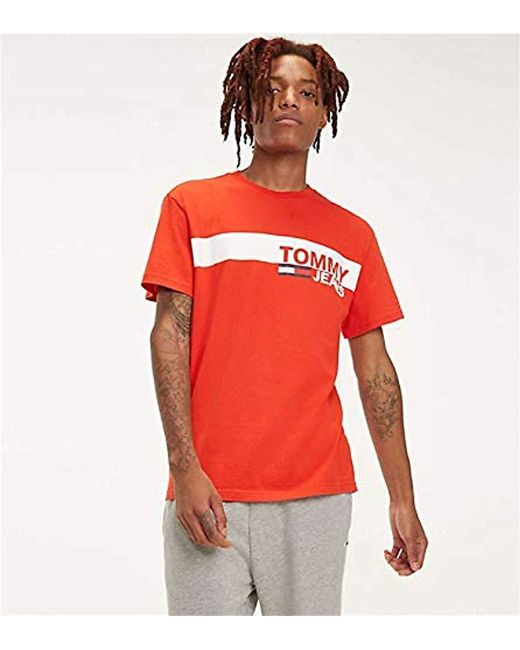 082bfbc7 Tommy Hilfiger - Red Tjm Essential Box Logo Tee T-shirt for Men - Lyst ...