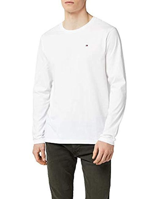 43cab533 Tommy Hilfiger - White Cotton Icon Long Sleeve Sports Shirt for Men - Lyst  ...