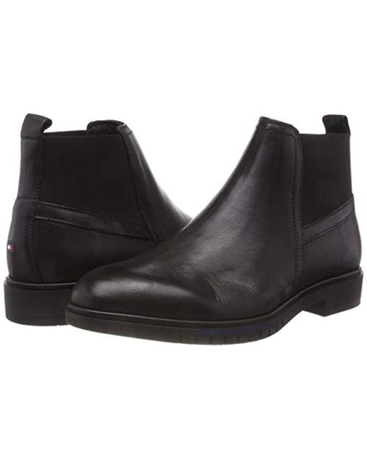 595cd07fd409ef ... Tommy Hilfiger - Black  s Flexible Dressy Leather Chelsea Boots for Men  ...