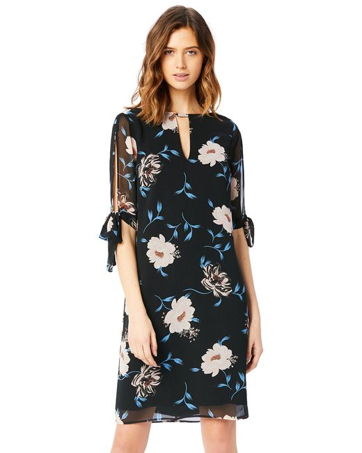 TRUTH & FABLE Black Sheer Sleeve Tunic Dress