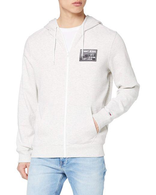 Tommy Hilfiger Gray Tjm Logo Zip Thru Sweatshirt for men
