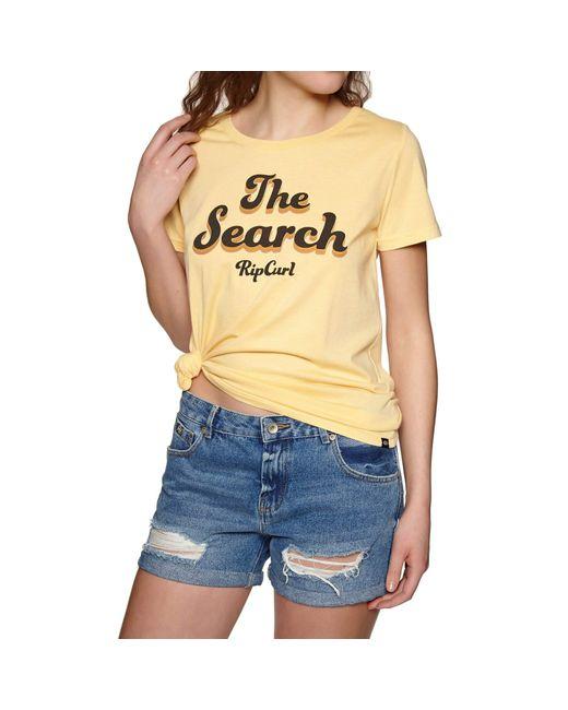 Rip Curl Multicolor Keep Searching ,T-Shirt,Short Sleeve Tee,Kurze Ärmel,Rundausschnitt,Mustard,L