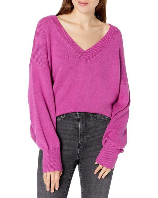 Lisa, morbido maglione ampio con largo scollo a V da Donna, Viola vivido, XXL di The Drop in Pink