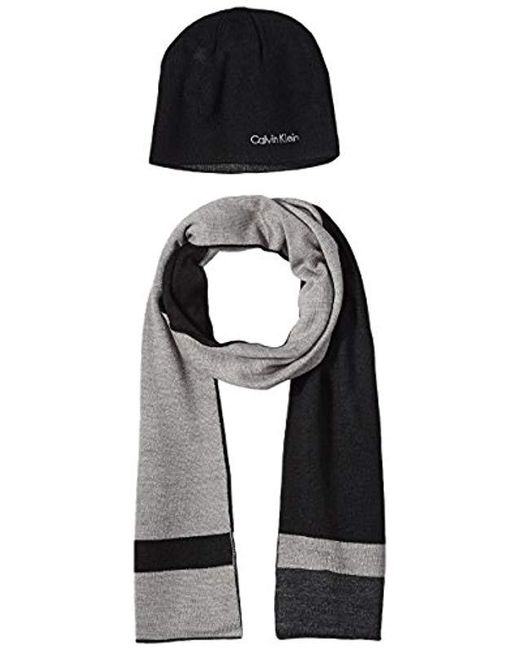 Calvin Klein - Black Hat And Scarf Set for Men - Lyst