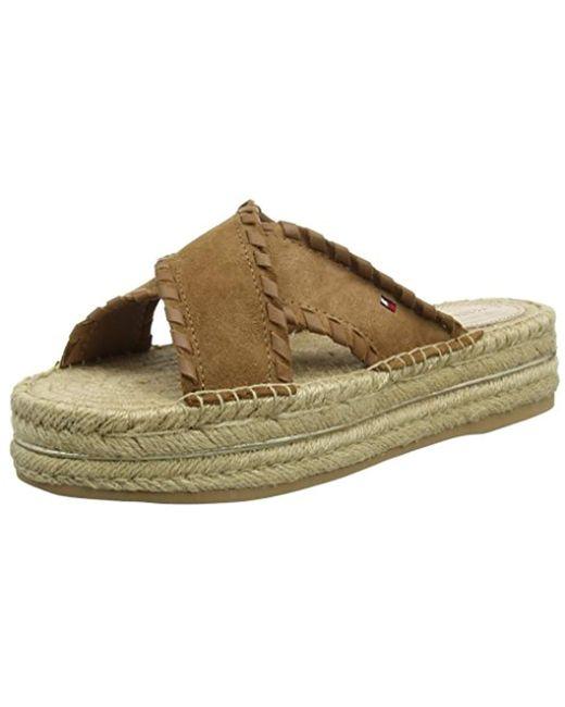 Tommy Hilfiger - Brown Interlace Suede Flatform Sandal Platform - Lyst