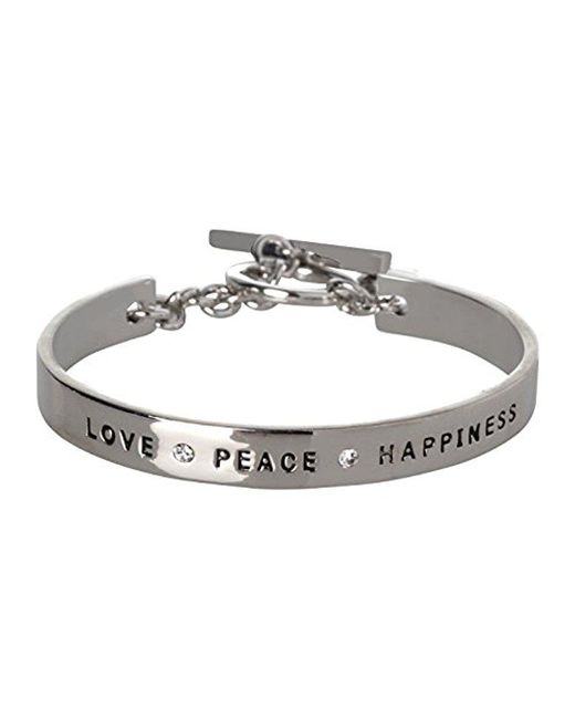 BCBGeneration - Metallic Bcbg Generation Love Peace Happiness Cuff Bracelet - Lyst