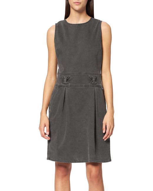 Sleeveless Tube Dress in Faded Stretch Cotton Gabardine Abito Casual di Love Moschino in Black