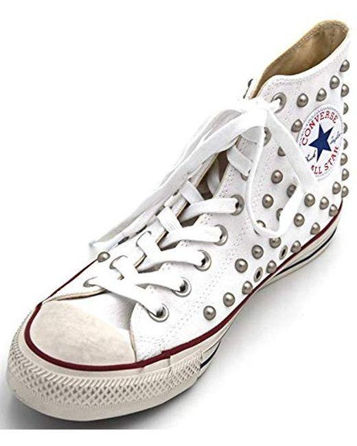 sito affidabile 9ddfe 8f2f9 Women's White Sneackers All Star Alte Bianche Con Borchie