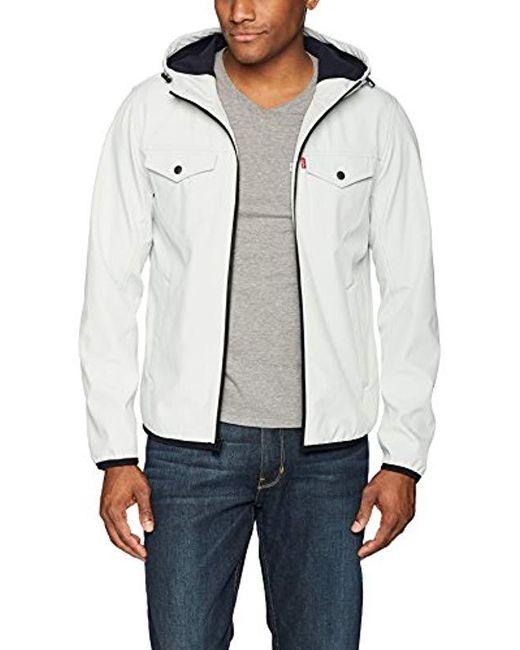 Levi's White Lightweight Hooded Softshell Trucker Jacket, Ice, X-large for men