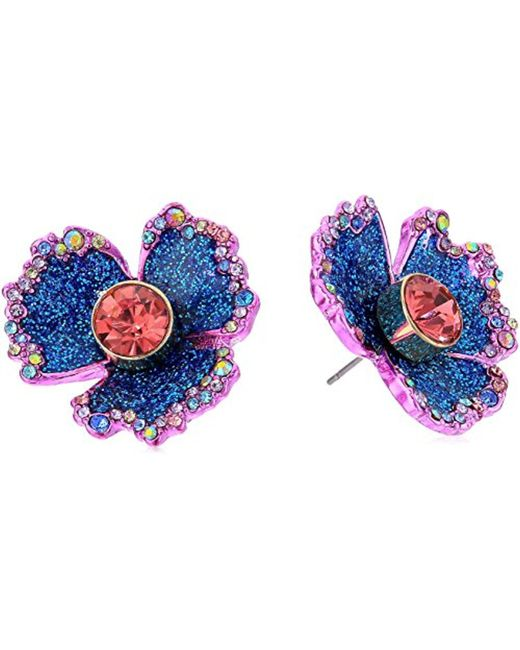 Betsey Johnson - S Blooming Betsey Blue And Pink Glitter Flower Stud Earrings, One Size - Lyst