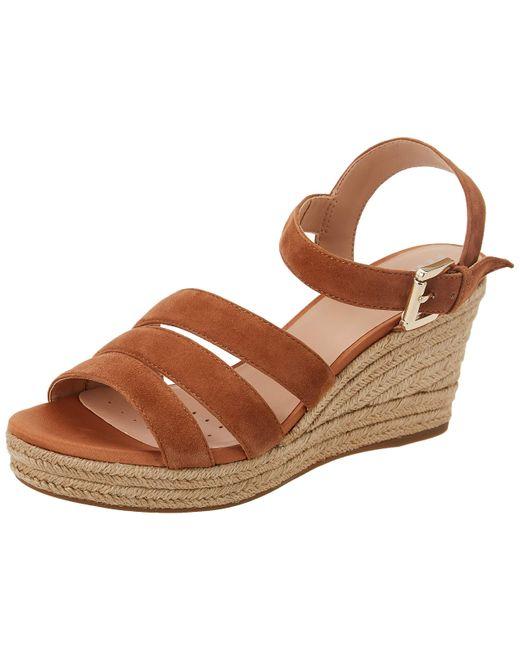 Geox Brown D Soleil C Wedge Sandal