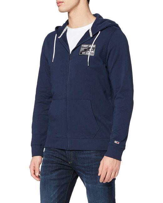 Tommy Hilfiger Blue Tjm Logo Zip Thru Sweatshirt for men