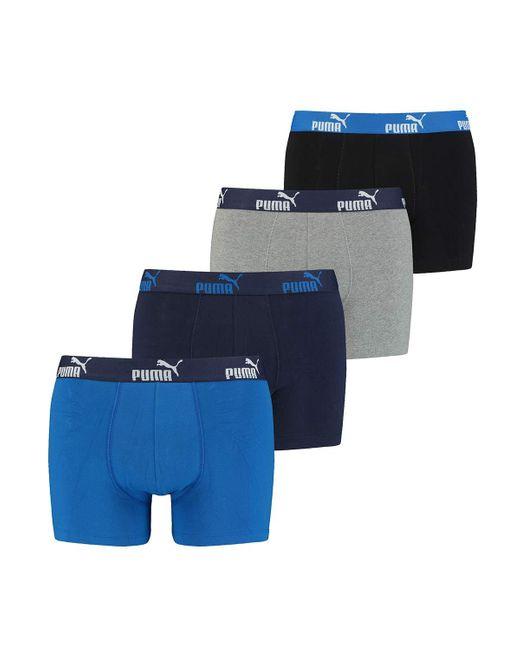 4 x s Solid Boxer Shorts Blue Medium PUMA pour homme - Lyst