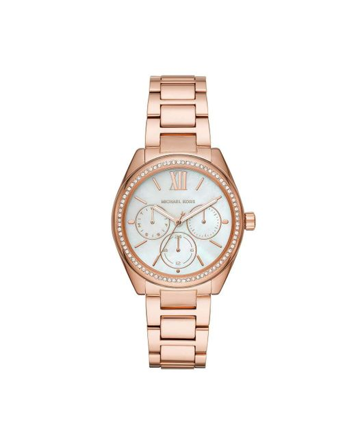 Janelle Multifunction Rose Gold-Tone Stainless Steel Watch MK7095 di Michael Kors in Metallic