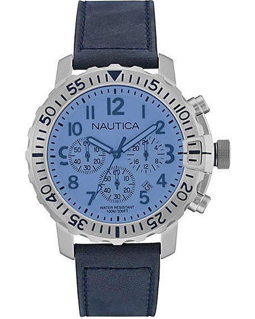 Orologio Cronografo Quarzo Uomo con Cinturino in Pelle NAI19534G di Nautica in Blue da Uomo