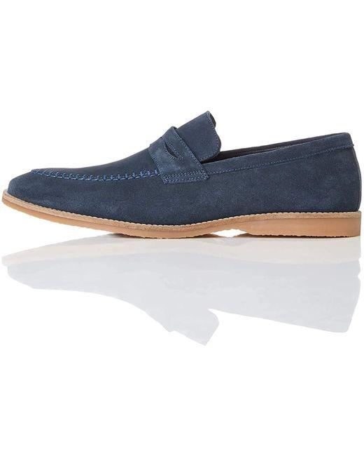 FIND Suede Loafer Slipper in Blue für Herren