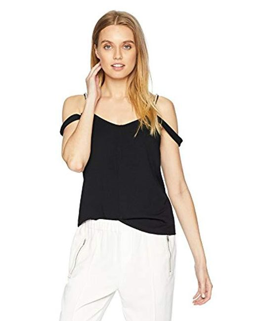 Kensie - Black Smooth Stretch Crepe Pearl Tank Top - Lyst