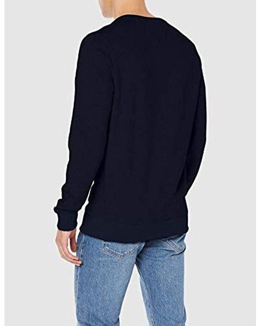 760f5c0e ... Tommy Hilfiger - Blue Tjm Essential Logo Crew Long Sleeve Sweatshirt  for Men - Lyst ...