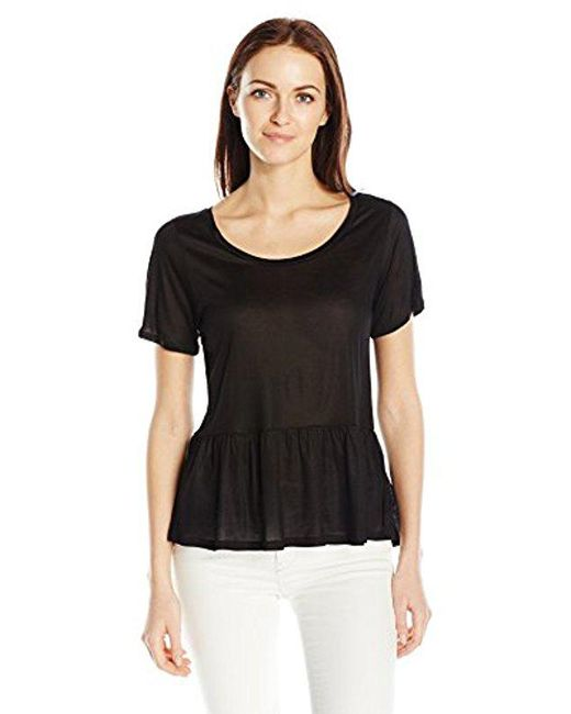 French Connection - Black Mercerised Jersey Top - Lyst