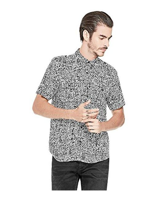 Guess - Gray Short Sleeve Painted Check Shirt for Men - Lyst