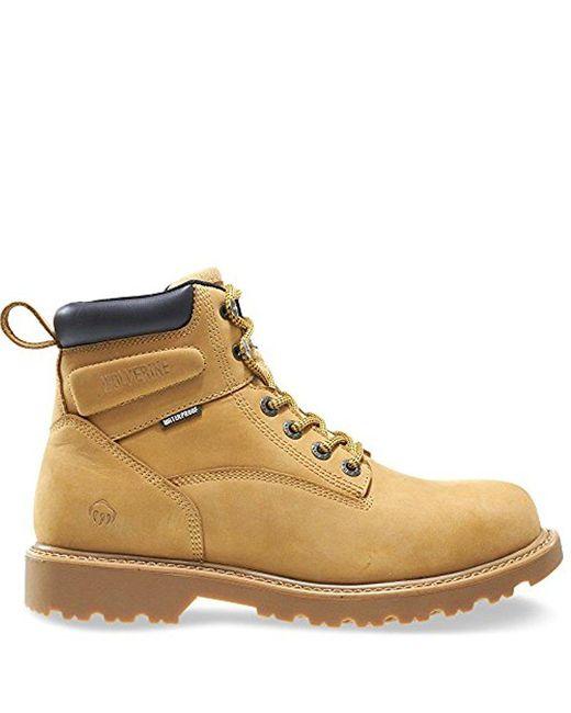 """Wolverine Brown Floodhand Waterproof 6"""" Soft Toe Work Boot"""