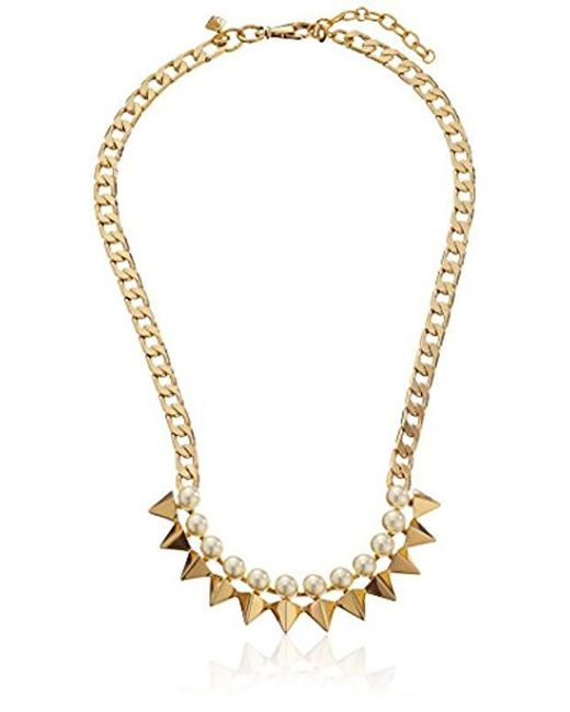 Rebecca Minkoff Metallic Gold-plated Faux Pearl Spike Necklace, 16''+2'' Extender