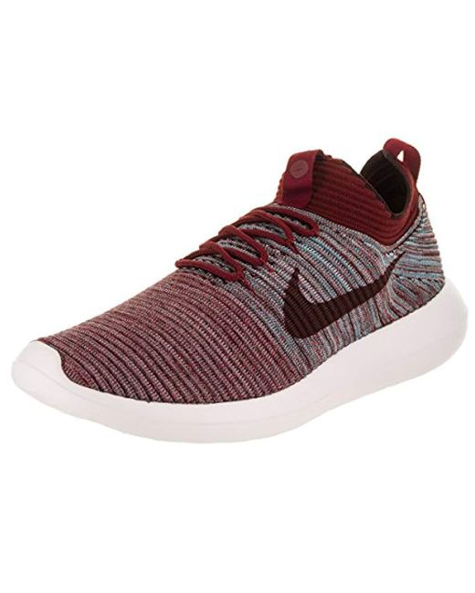 brand new 87020 5553e Men's Roshe Two Flyknit V2 Team Red/plum Fog Gunsmoke Running Shoe 9.5 Us
