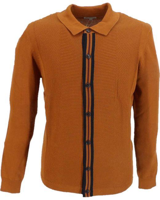 Ben Sherman Brown S Button Through Mod Cardigan for men
