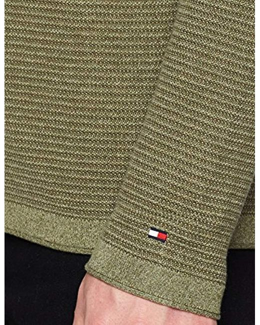 2fe0d49889b ... Tommy Hilfiger - Green  s Textured Denim Look Sweater Jumper for Men -  Lyst