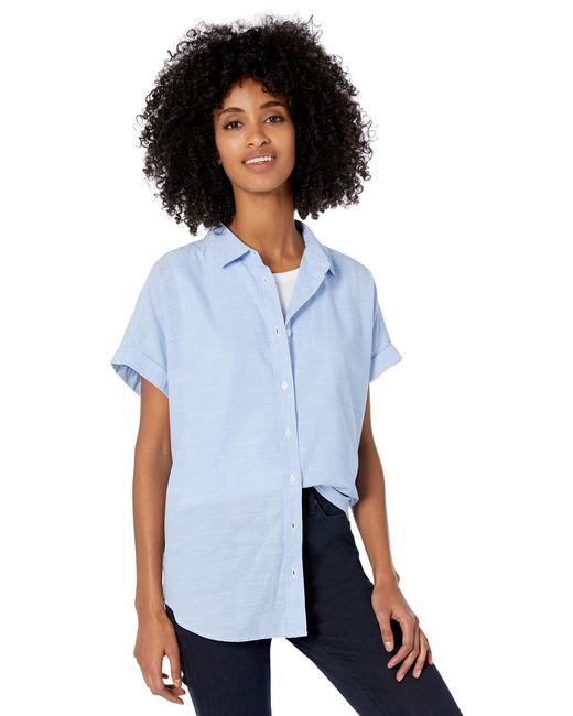 Goodthreads Washed Cotton Short-sleeve Shirt Blue Cross Dye