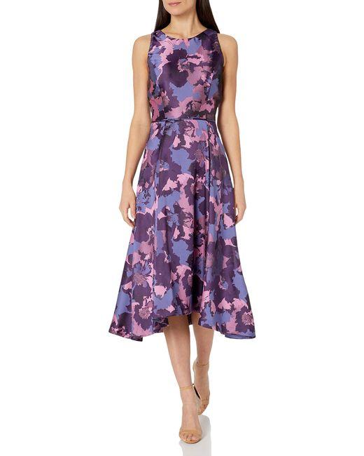 Tahari Purple Floral Printed Jacquard Midi Dress